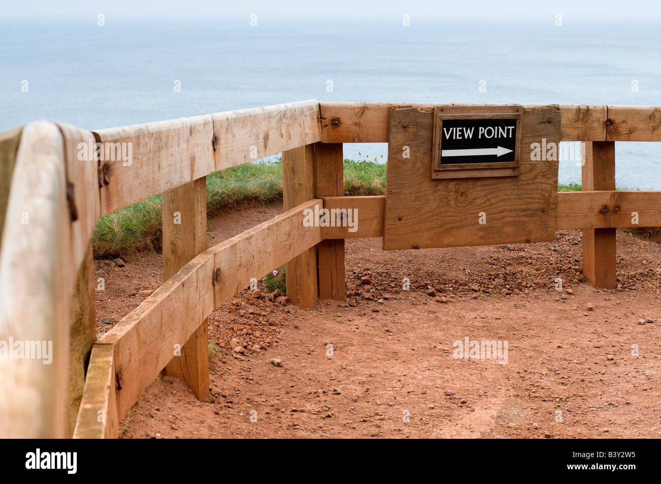 Comical Sign Reads 'View Point' Along Clifftop Walk. Giants Causeway, Northern Ireland - Stock Image