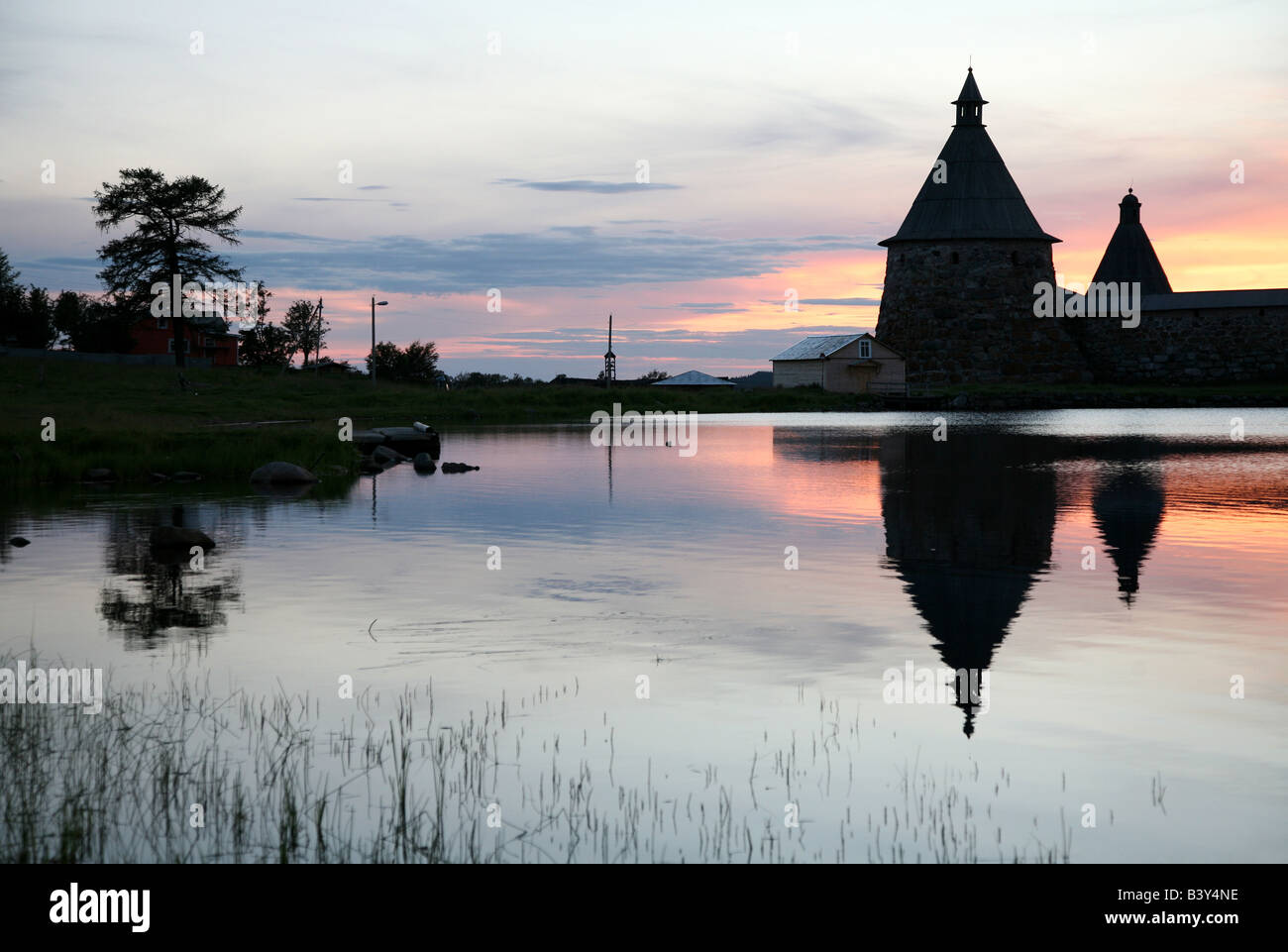 White Tower of the Solovetsky Monastery on the Solovetsky Islands in the White Sea, Russia. View from Saint Lake Stock Photo