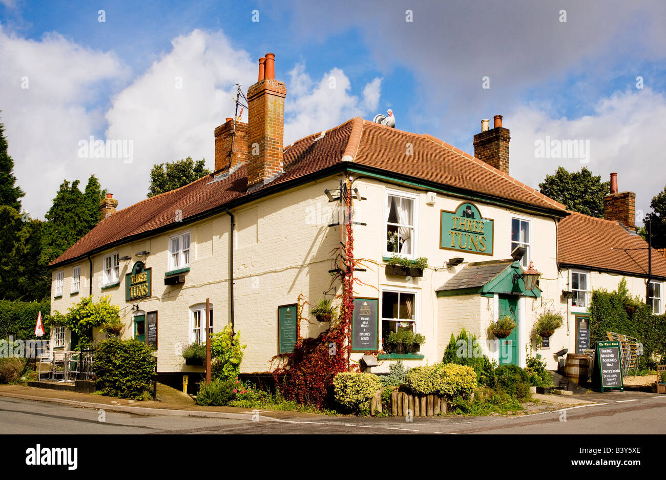 The Three Tuns a typical English country village pub at Great Bedwyn,Wiltshire,England,Great Britain,UK - Stock Image