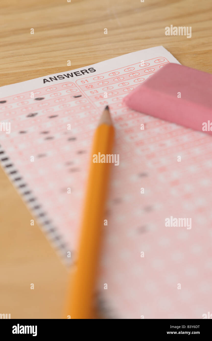 School education still life with test pencil and eraser - Stock Image