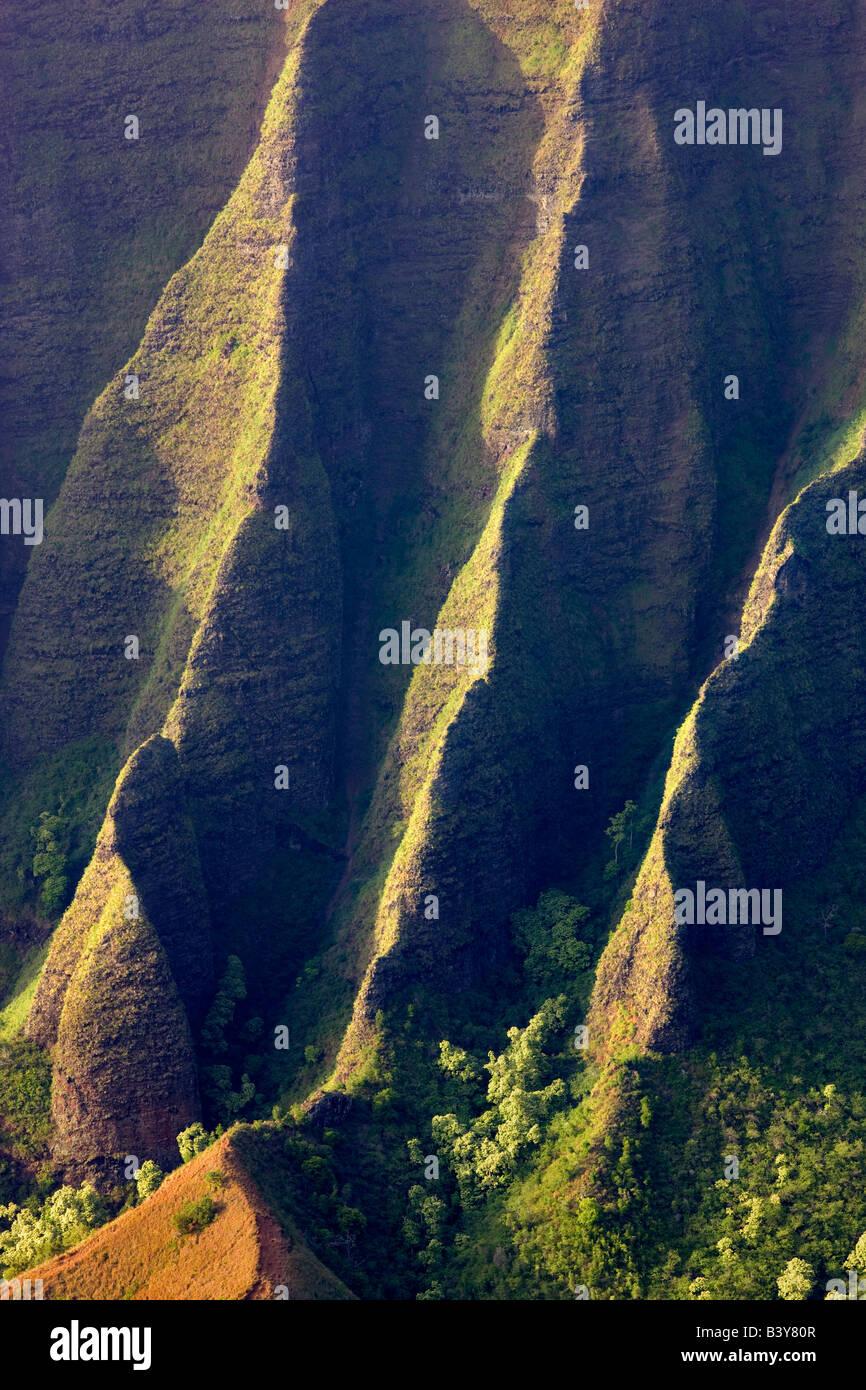 Kalalau Valley with knife edged ridge Koke e State Park Waimea Canyon Kauai Hawaii - Stock Image