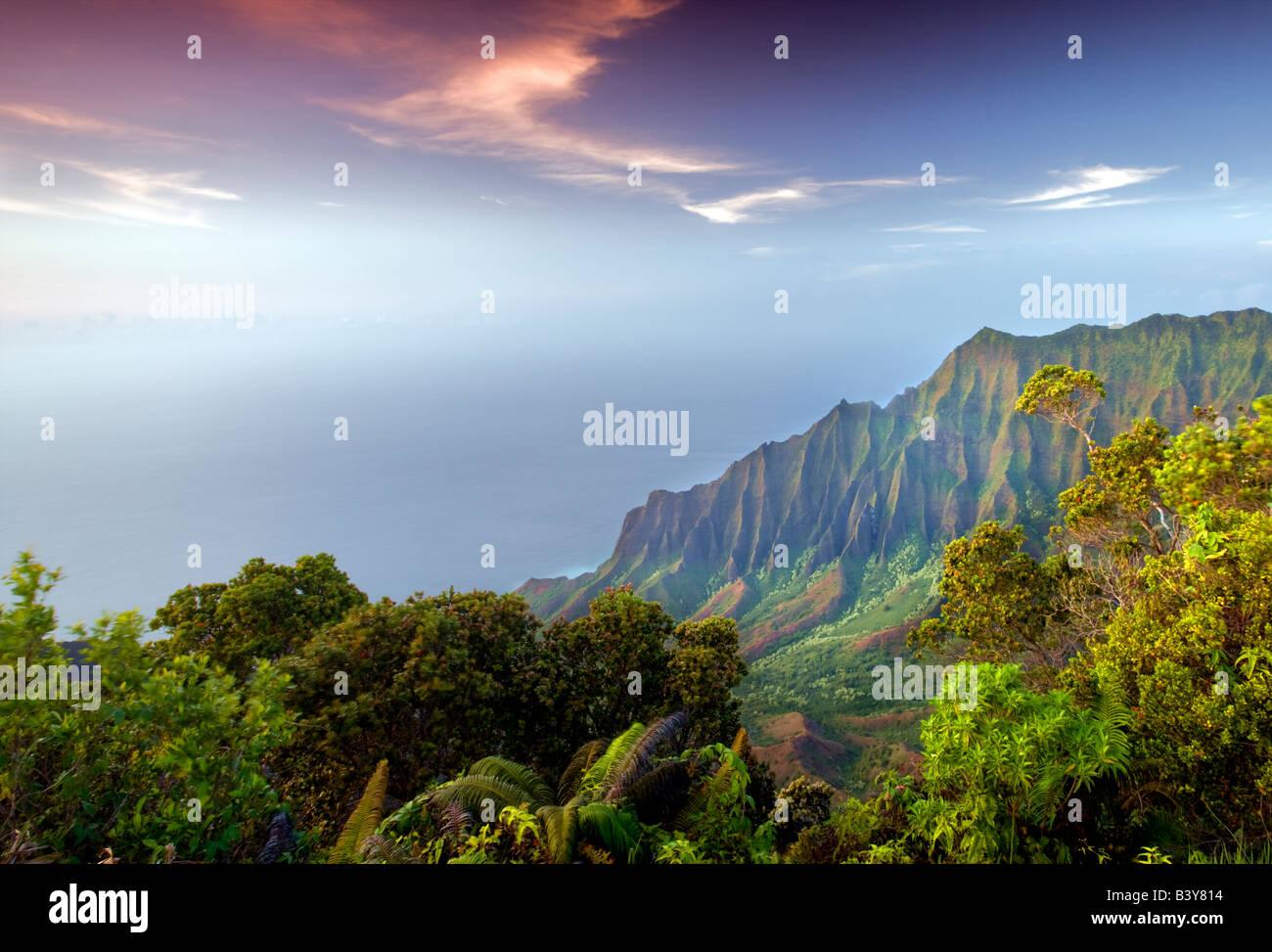 Kalalau Valley at sunset Koke e State Park Waimea Canyon Kauai Hawaii - Stock Image