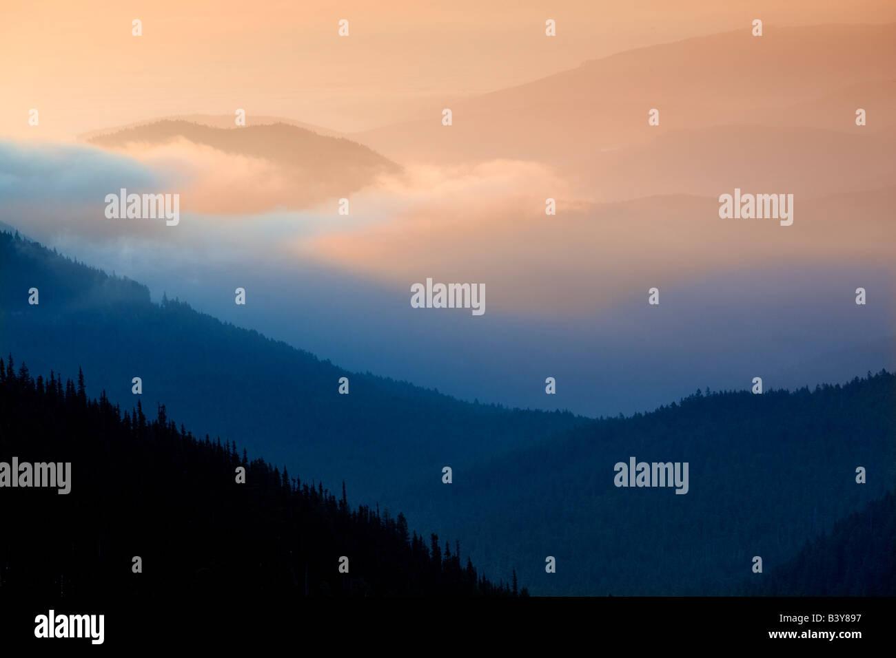 Sunrise and fog Taken from Hurricane Ridge Olympic National Park Washington - Stock Image