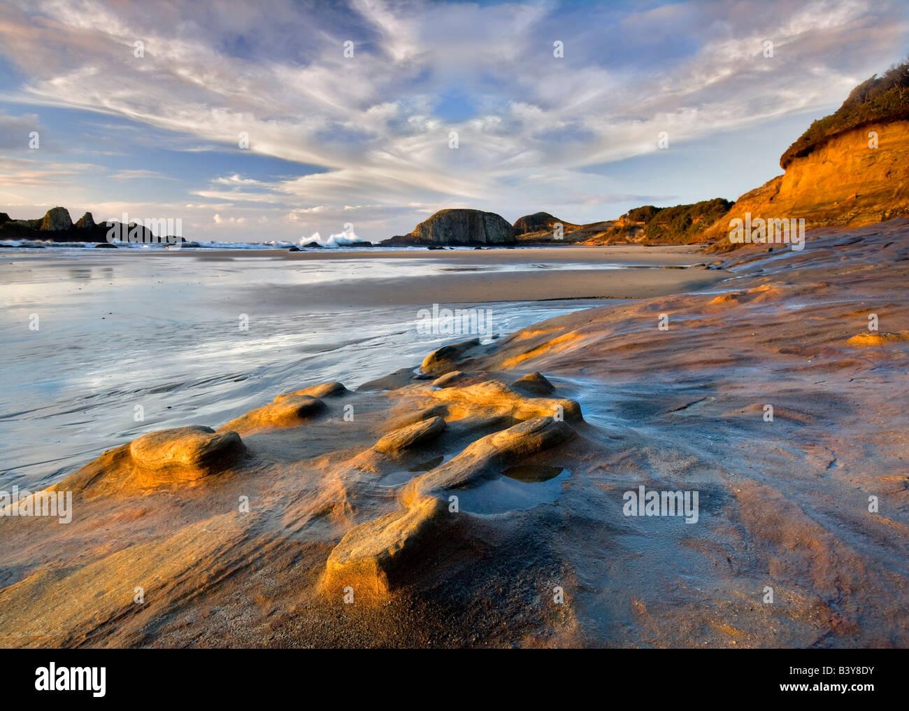 sandstone rock structure on shore of Seal Rock Oregon - Stock Image