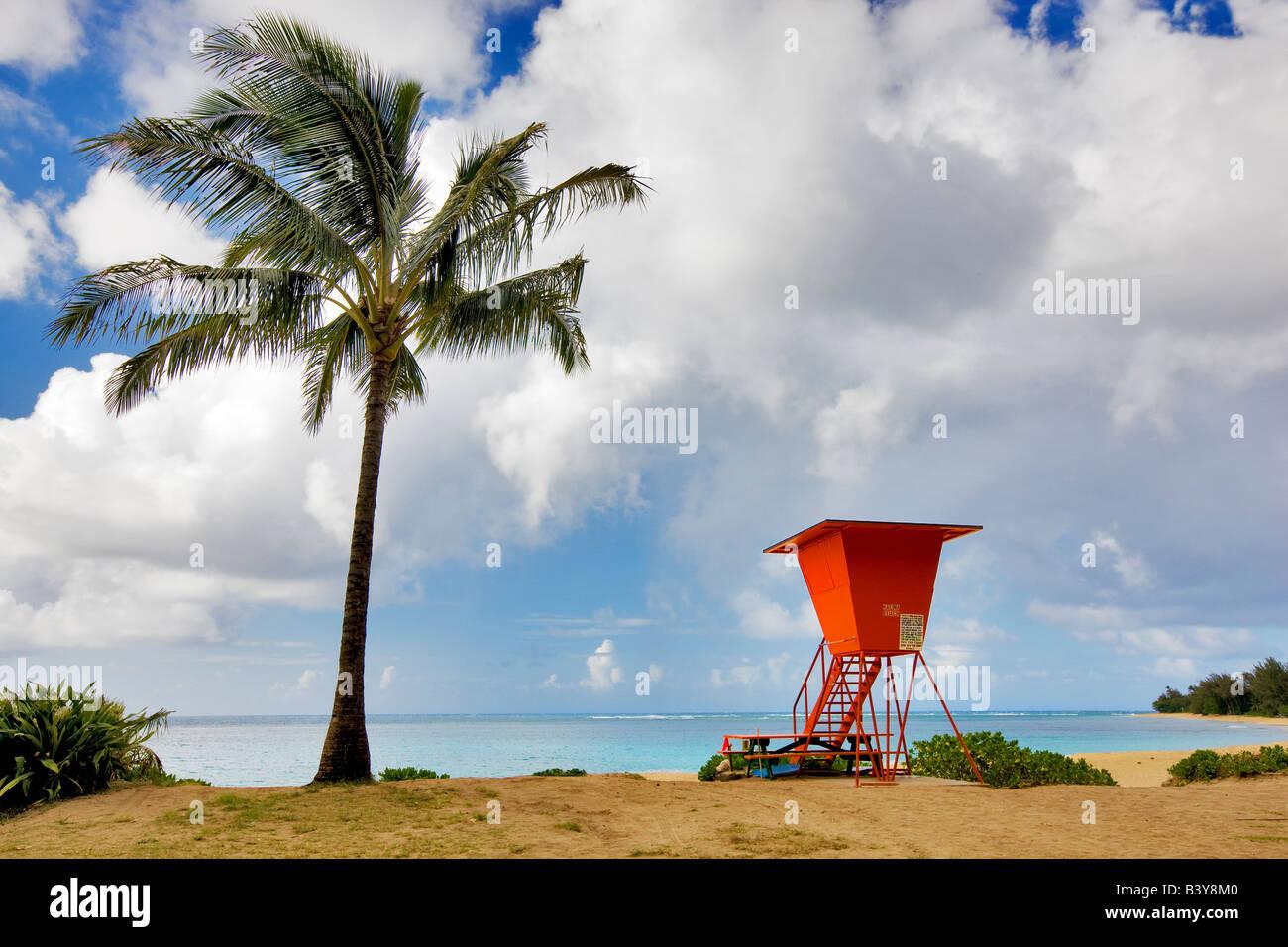 Haena Beach with lifegaurd tower Kauai Hawaii Stock Photo