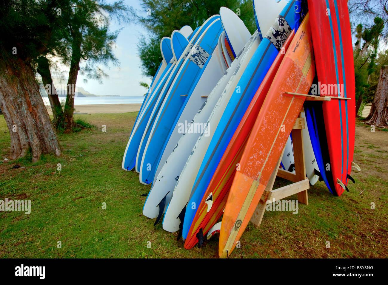 Stcked surfboards Hanalei Bay Kauai Hawaii - Stock Image