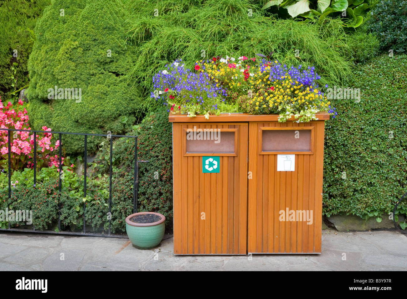 Decorative trash cans at Butchart Gardens B C Canada Stock Photo ...