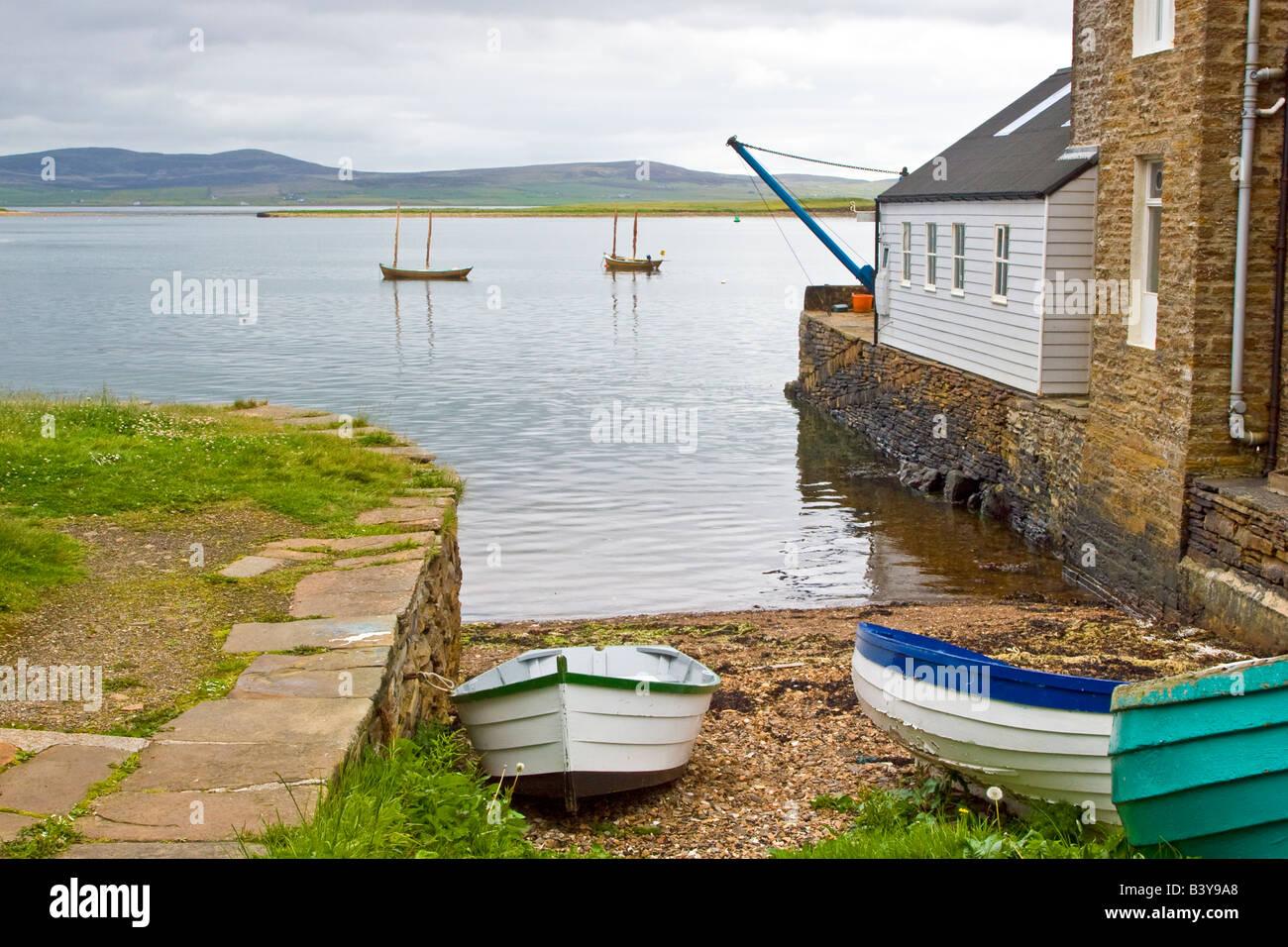 Fishing boats on a stone slipway, Stromness, Orkney Isle, Scotland UK 2008 - Stock Image
