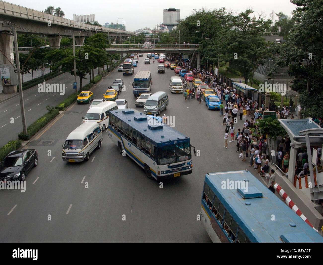 traffic chaos outside Chatuchak weekend market - Stock Image