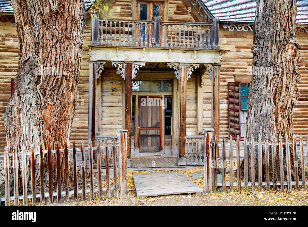 Front Of Old Historic House Nevada City Montana Stock Photo Alamy