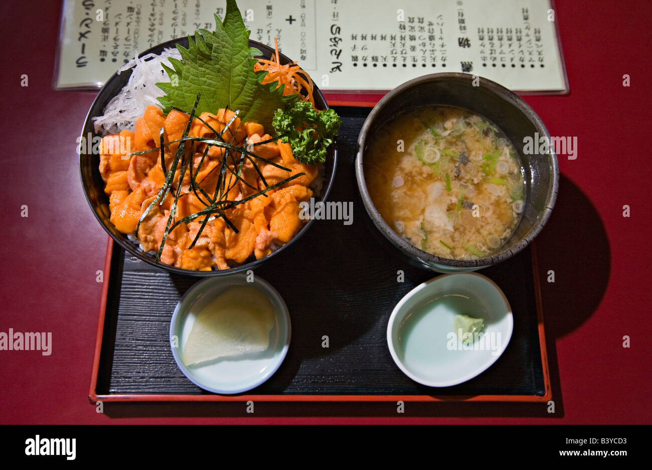 Uni Donburi and Miso Soup - Stock Image