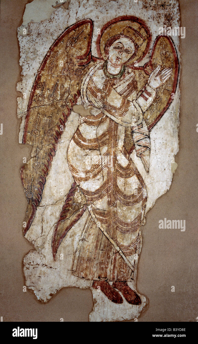A fine early Coptic wall mural depicting Archangel Michael, which came from the ancient Christian monastery of Faras, - Stock Image