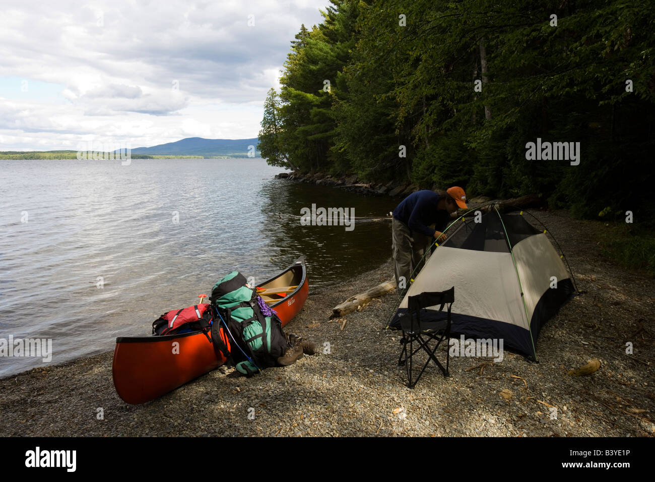 Camping On Sugar Island On Moosehead Lake Maine Usa Mr Stock Photo