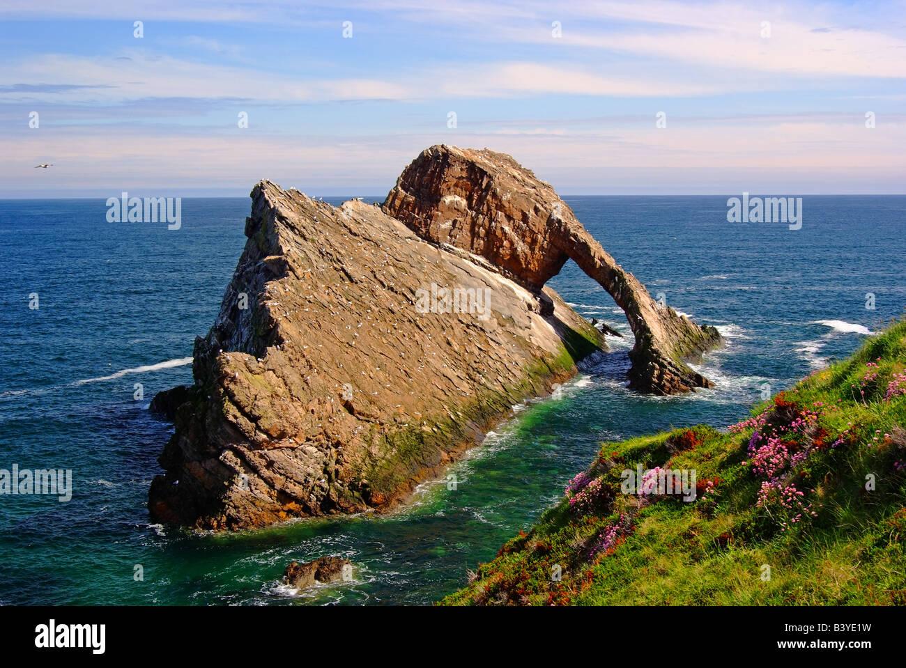 uk scotland grampian banff the bow fiddle rock near portknockie and north sea - Stock Image