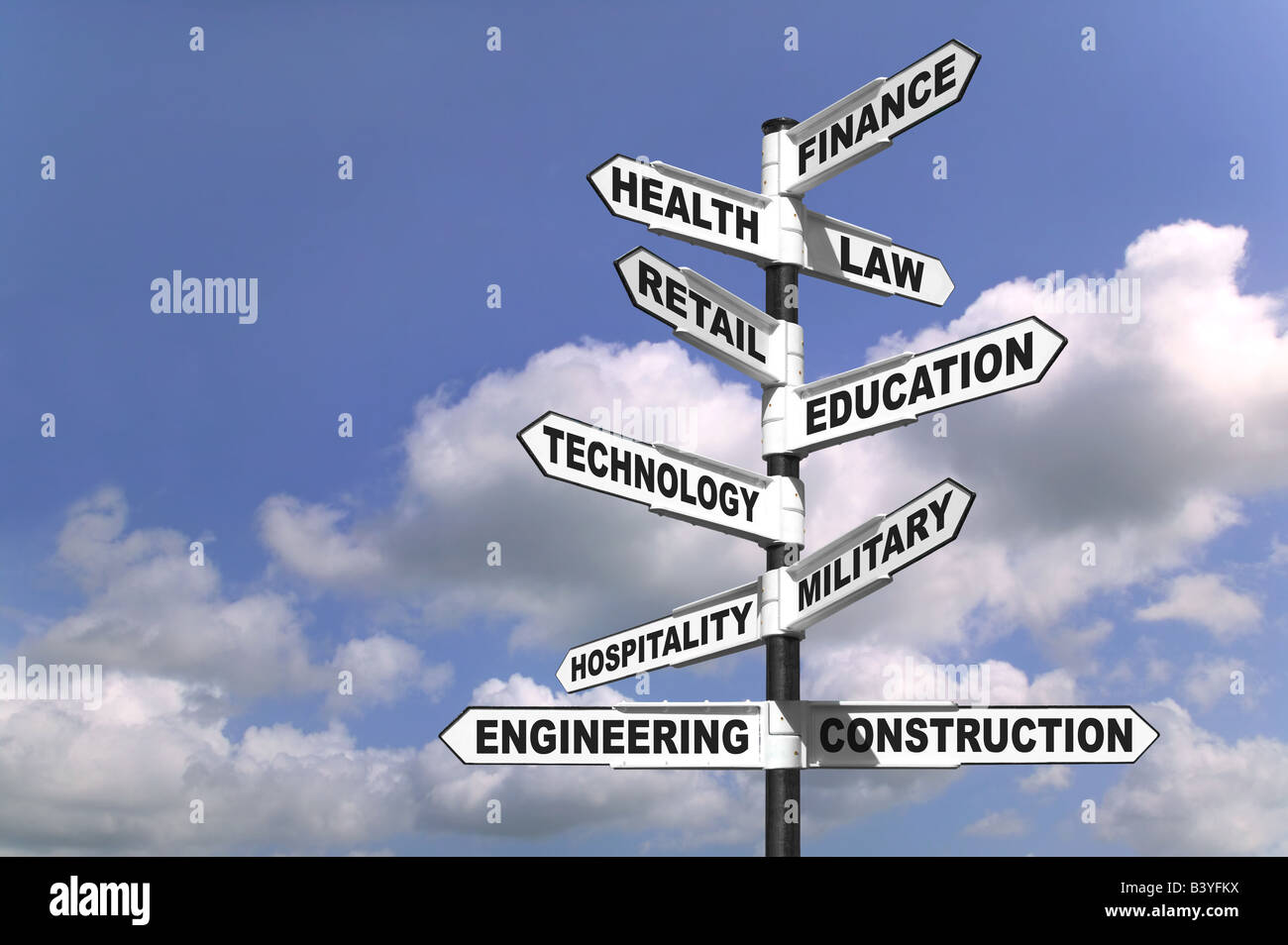 Concept image of a signpost showing the way to ten different career paths - Stock Image