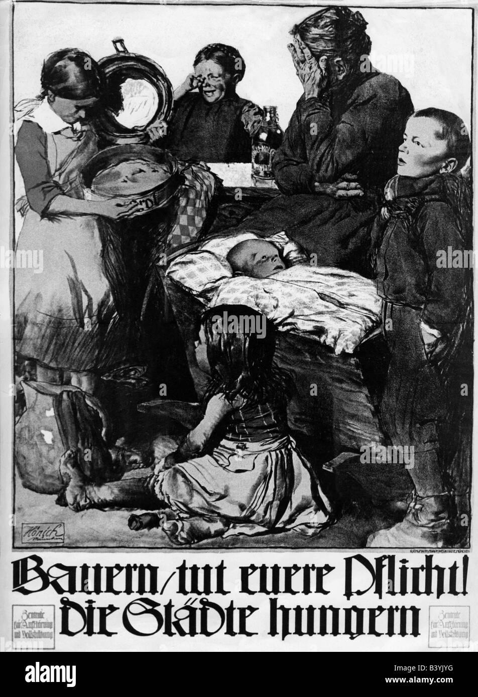 events, First World War / WWI, propaganda, poster 'Bauern, tut euere Pflicht! Die Staedte hungern' (Farmers, - Stock Image