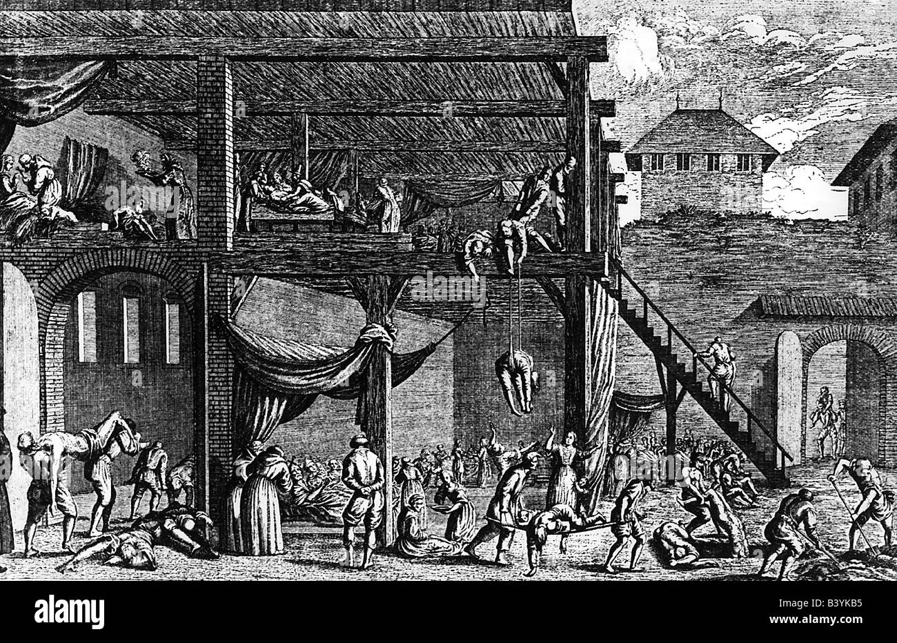 medicine, hospitals, plague hospital in Vienna, copper engraving, 1679, Artist's Copyright has not to be cleared Stock Photo