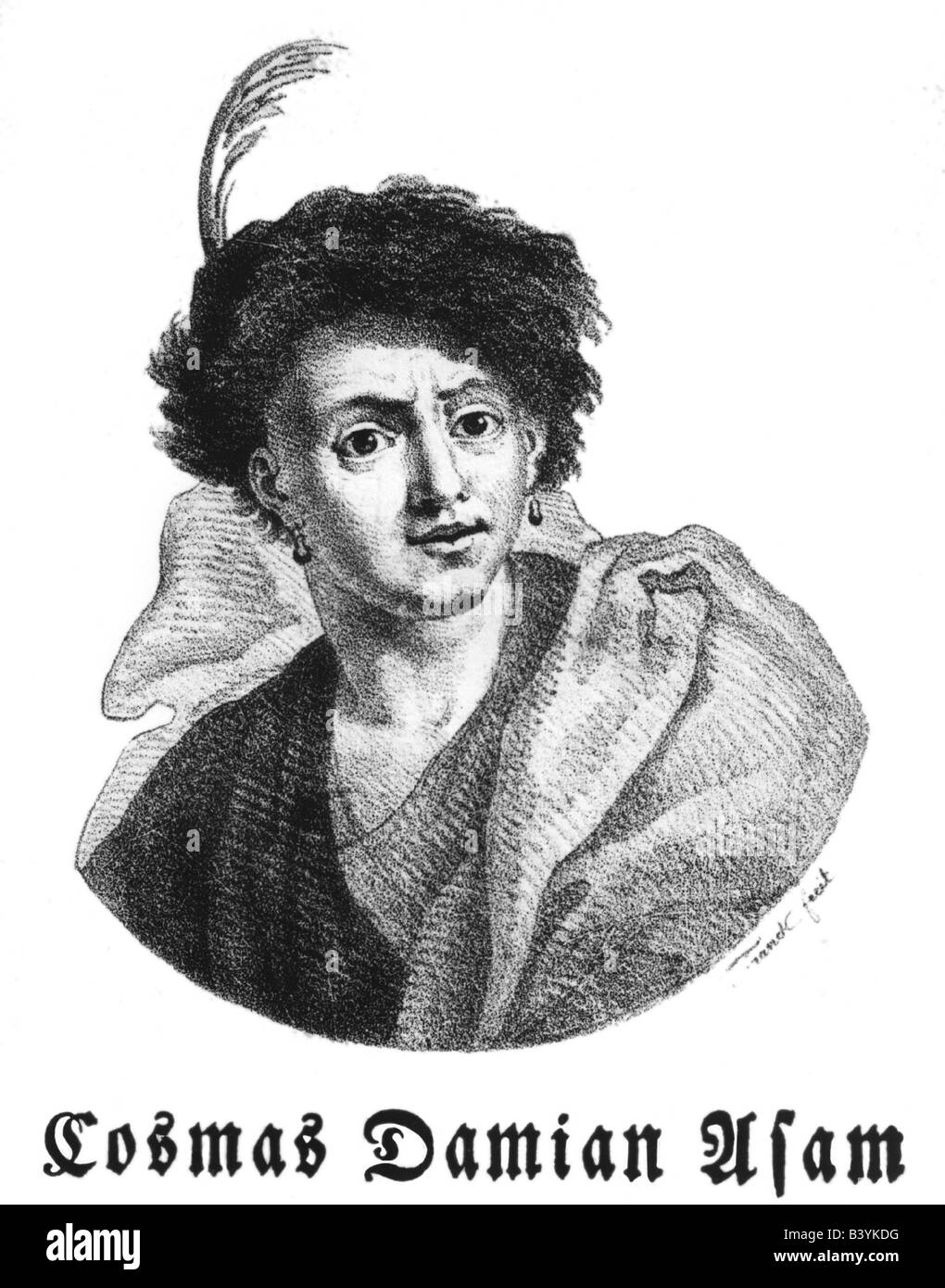 Asam, Cosmas Damian, 28.9.1686 - 10.5.1742, German painter, sculptor and architect, portrait, wood engraving, 19th - Stock Image
