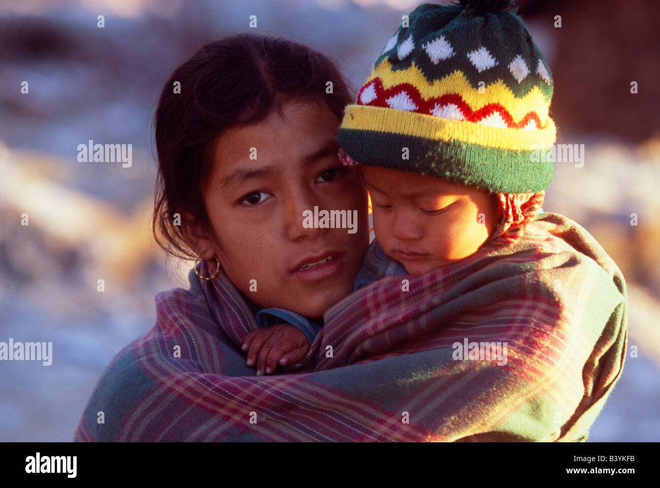 Nepali mother child nepal stock photos nepali mother child nepal nepal annapurna nepali woman and baby on the approach to machhapuchhare stock image ccuart Images