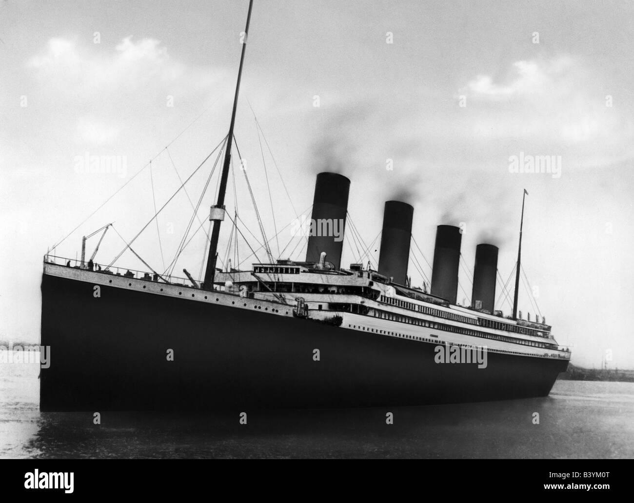 transport / transportation, navigation, Titanic, ship departing from Southampton, Great Britain, 10.4.1912, Additional - Stock Image