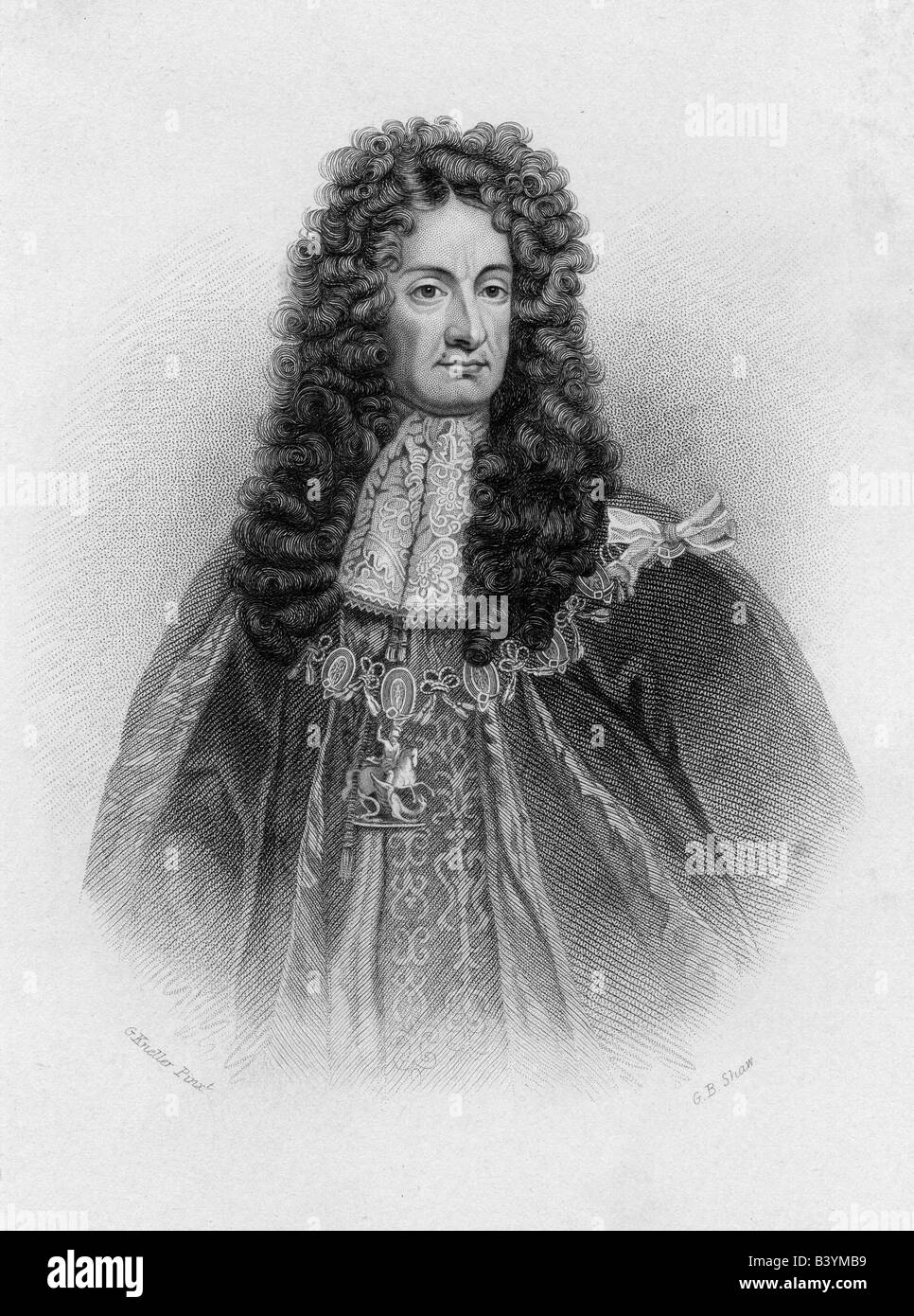 Charles II, 29.5.1630 - 6.2.1685, King of England 29.5.1660 - 29.5.1685, portrait, engraving by G. B. Shaw, 19th - Stock Image