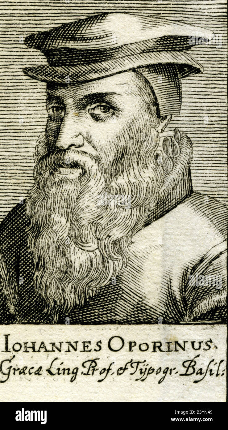 Oporinus, Johannes, 25.1.1507 - 6.7.1568, Swiss typographer, portrait, engraving, circa 16th century, birth name: - Stock Image