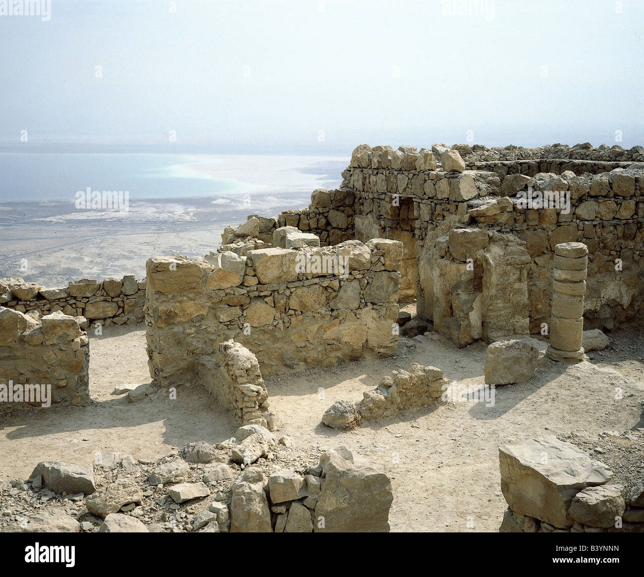 geography / travel, Israel, Mezada (Masada), fortress, completed 37 - 31 BC under King Herod I., destroyed by romans - Stock Image