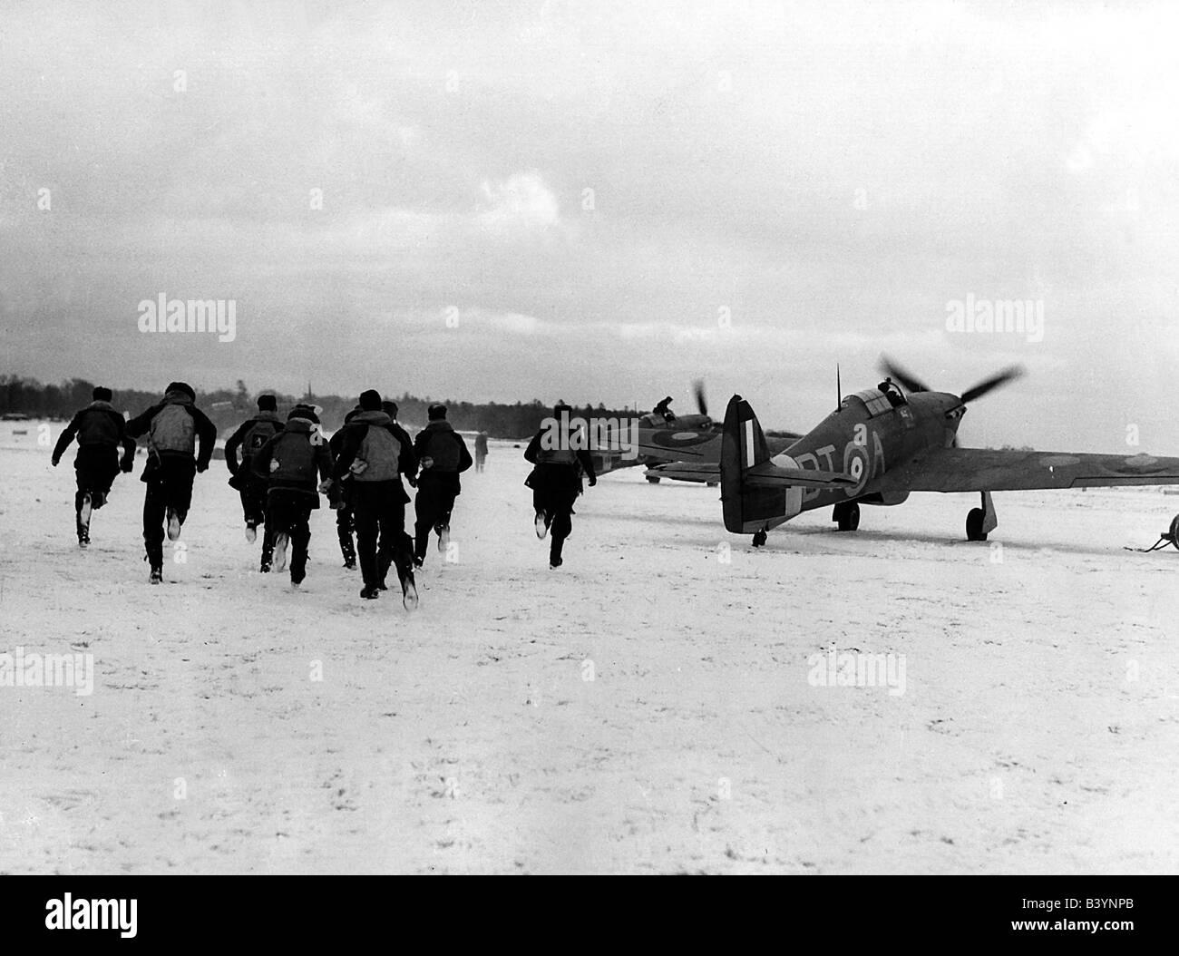 events, Second World War / WWII, aerial warfare, England, British fighter pilots scrambling, winter 1940 / 1941, - Stock Image