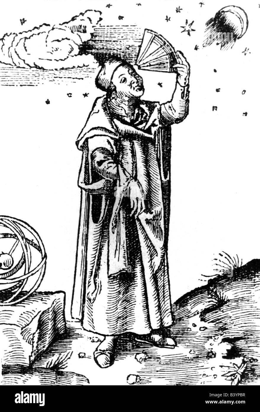 Brahe, Tycho, 14.12.1546 - 24.10.1601, Danish astronomer, woodcut,  nobleman, Tyge, astronomical instrument, Quadrans - Stock Image