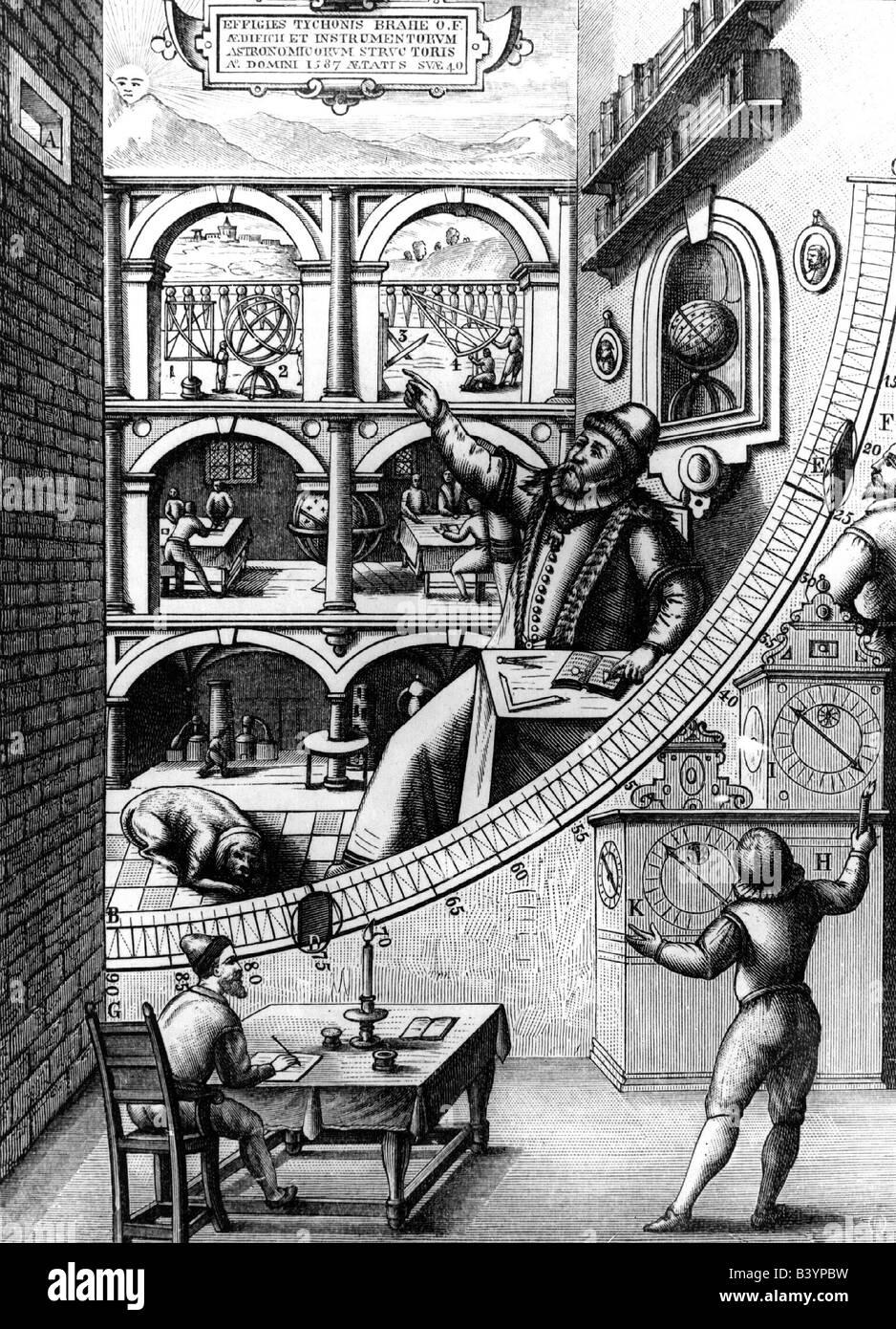 Brahe, Tycho, 14.12.1546 - 24.10.1601, Danish astronomer,   nobleman, Tyge, astronomy, Quadrans Muralis, observatory - Stock Image