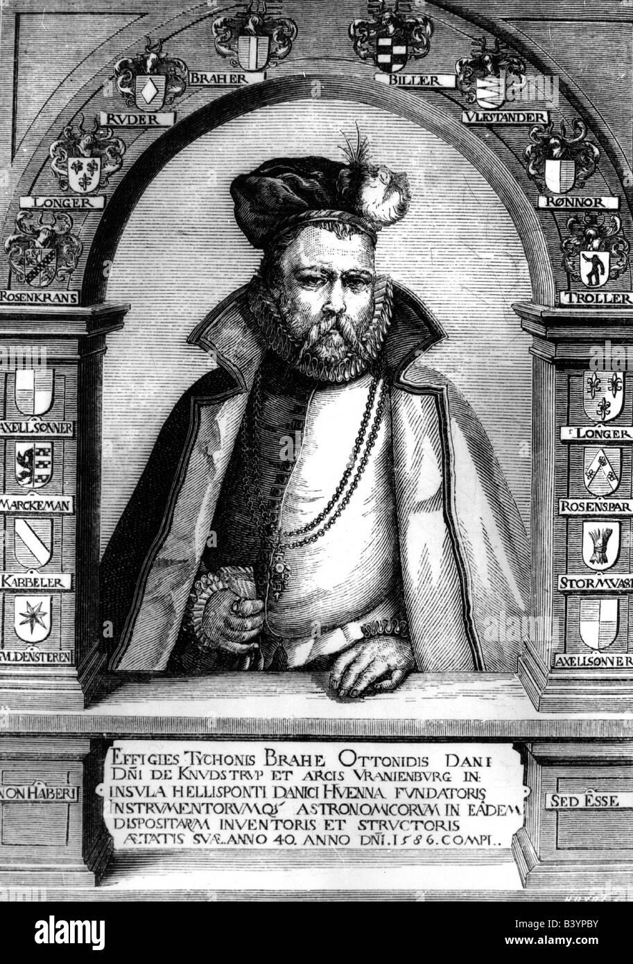 Brahe, Tycho, 14.12.1546 - 24.10.1601, Danish astronomer,   nobleman, half length circa 1586, coat of arms, engraving - Stock Image
