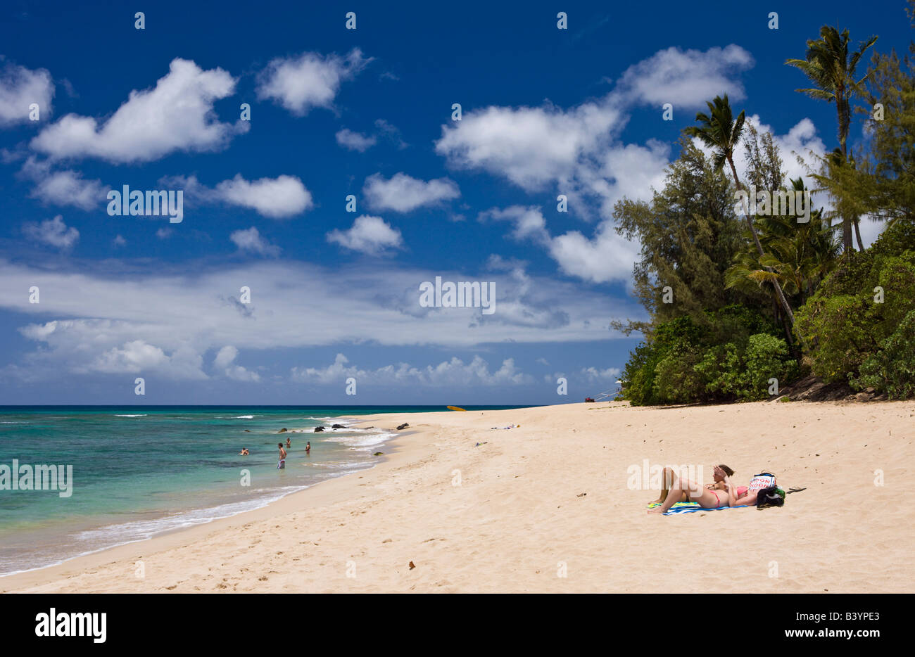 Beach of Haleiwa Beach Park Oahu Pacific Ocean Hawaii USA - Stock Image