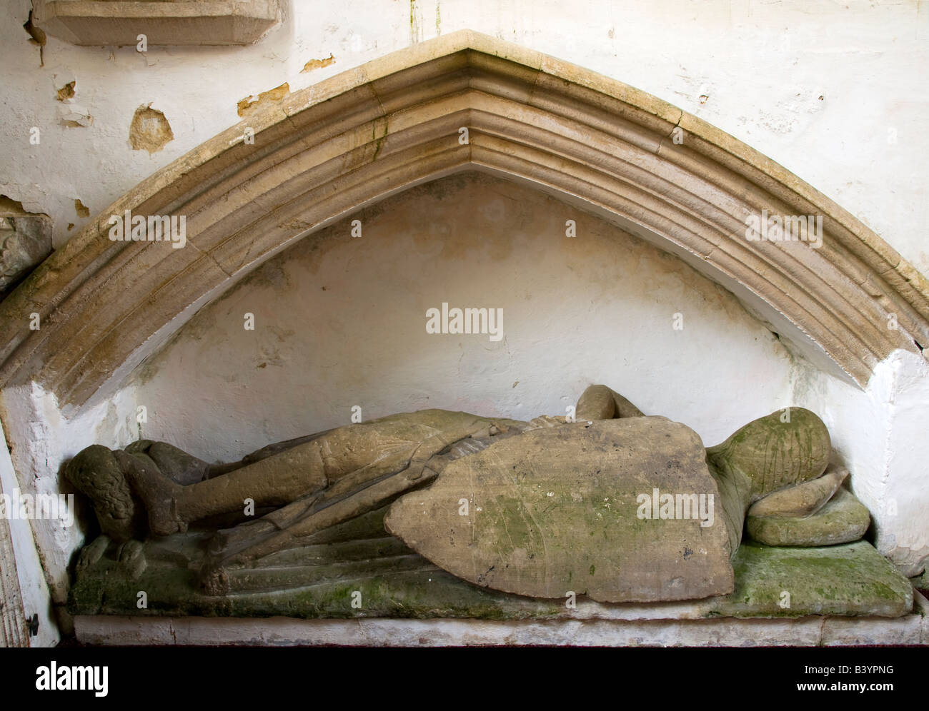 Memorial and tomb of Crusader knight Sir Adam de Stokke at  St.Mary's Church,Great Bedwyn,Wiltshire,England,Great - Stock Image