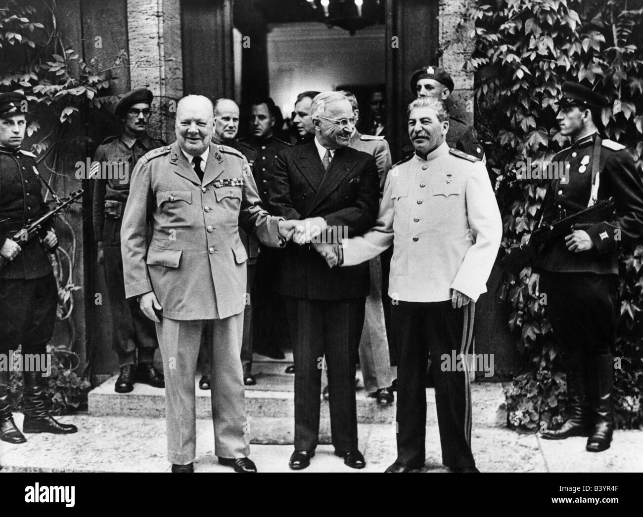 events, Second World War / WWII, conferences, Potsdam Conference 17.7.1945 - 2.8.1945, Winston Churchill, Harry - Stock Image