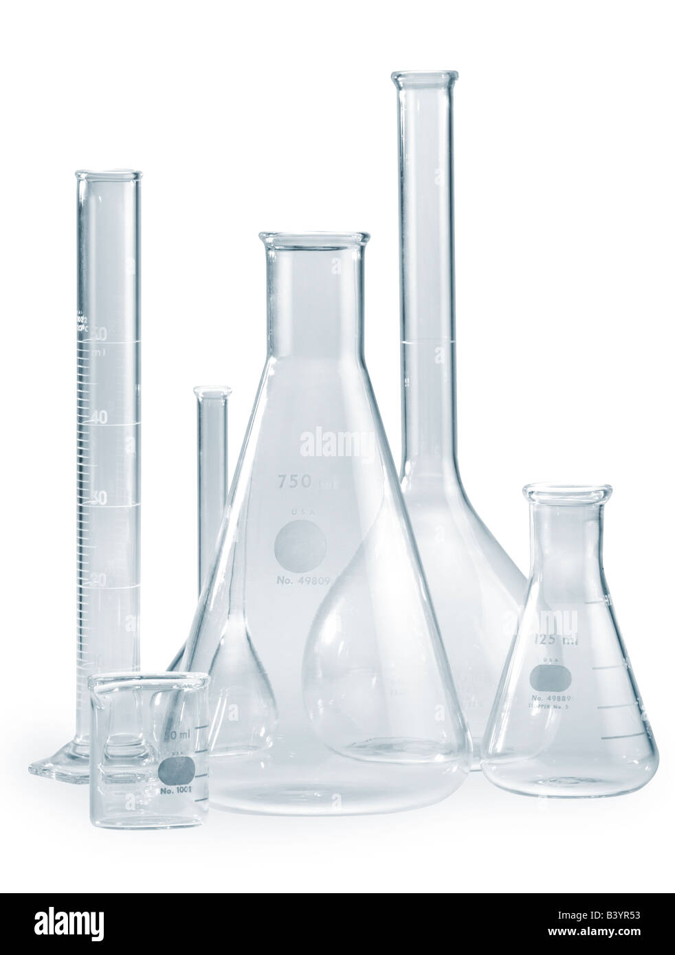 Empty glass Pyrex beakers as might be seen in a laboratory setting A clipping path is included - Stock Image