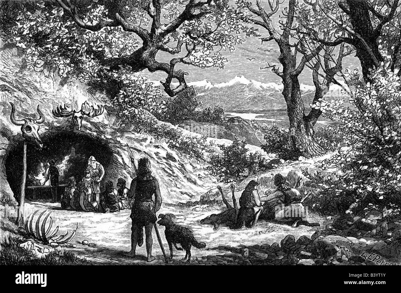 aeon / prehistory, people, prehistoric men, stone age, everyday life of a family, engraving, 19th century, historic, - Stock Image