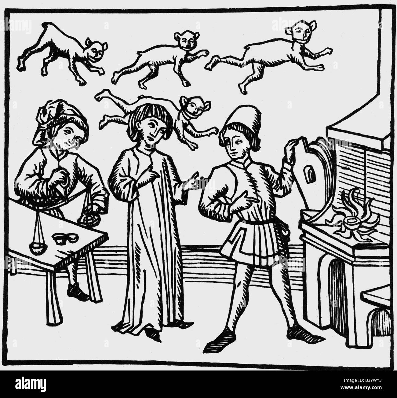 alchemy, laboratories, woodcut, early 16th century, alchemist, laboratory, oven, bellow, historic, historical, people, - Stock Image