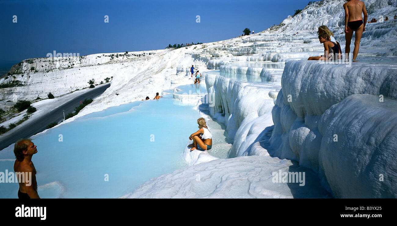 geography / travel, Turkey, Pamukkale, lime terraces, chalk, travertine terrace, bather, bathing, tourists, UNESCO - Stock Image