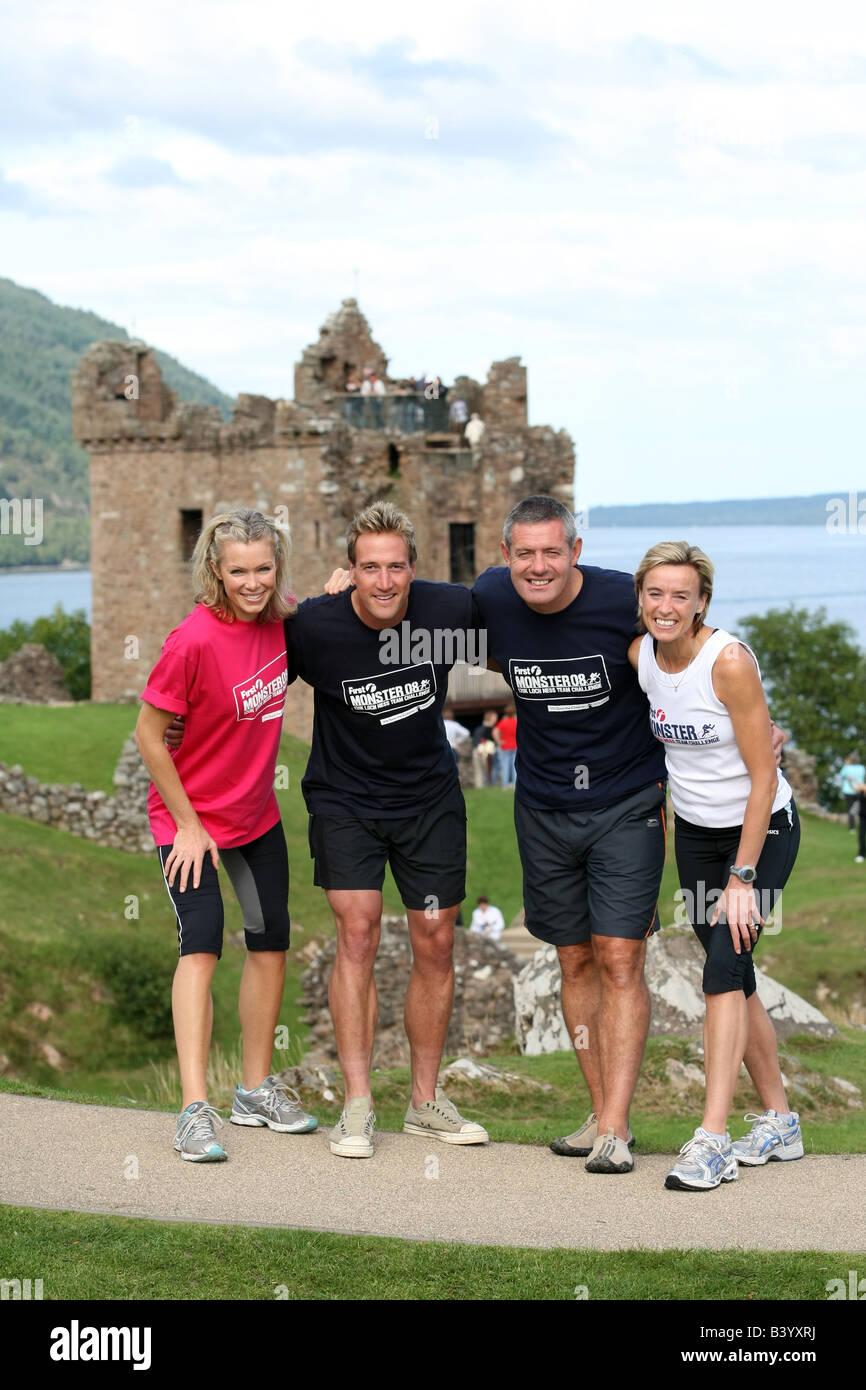 Celebrities Nell McAndrew, Ben Fogle, Gavin Hastings, Liz McColgan at Castle Urquhart to compete in the First Monster - Stock Image