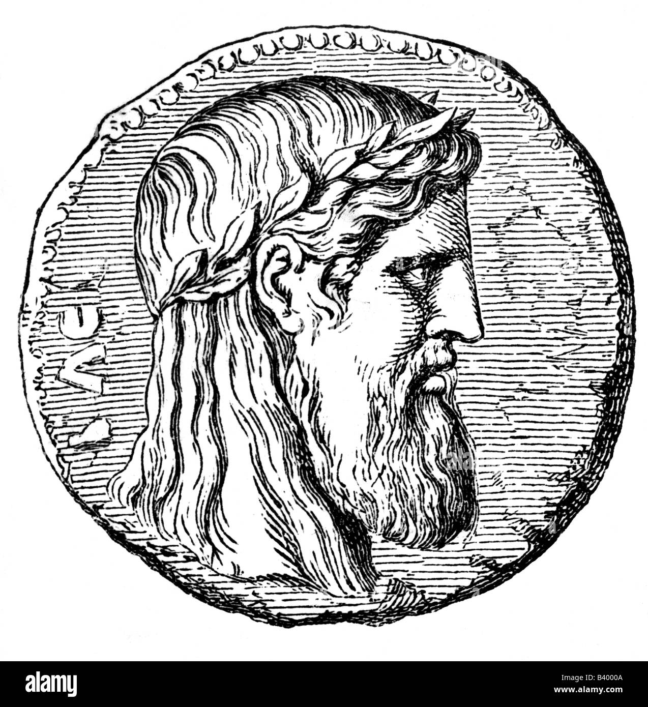 Zeus (latin Jupiter), greek 'divine king', leader of gods, god of sky and thunder, portrait, coin, Elis, - Stock Image