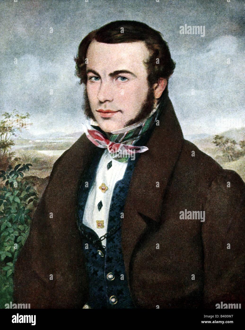 Stifter, Adalbert, 23.10.1805 - 28.1.1868, Austrian author / writer, portrait, Ferdinand Georg Waldmüller, - Stock Image