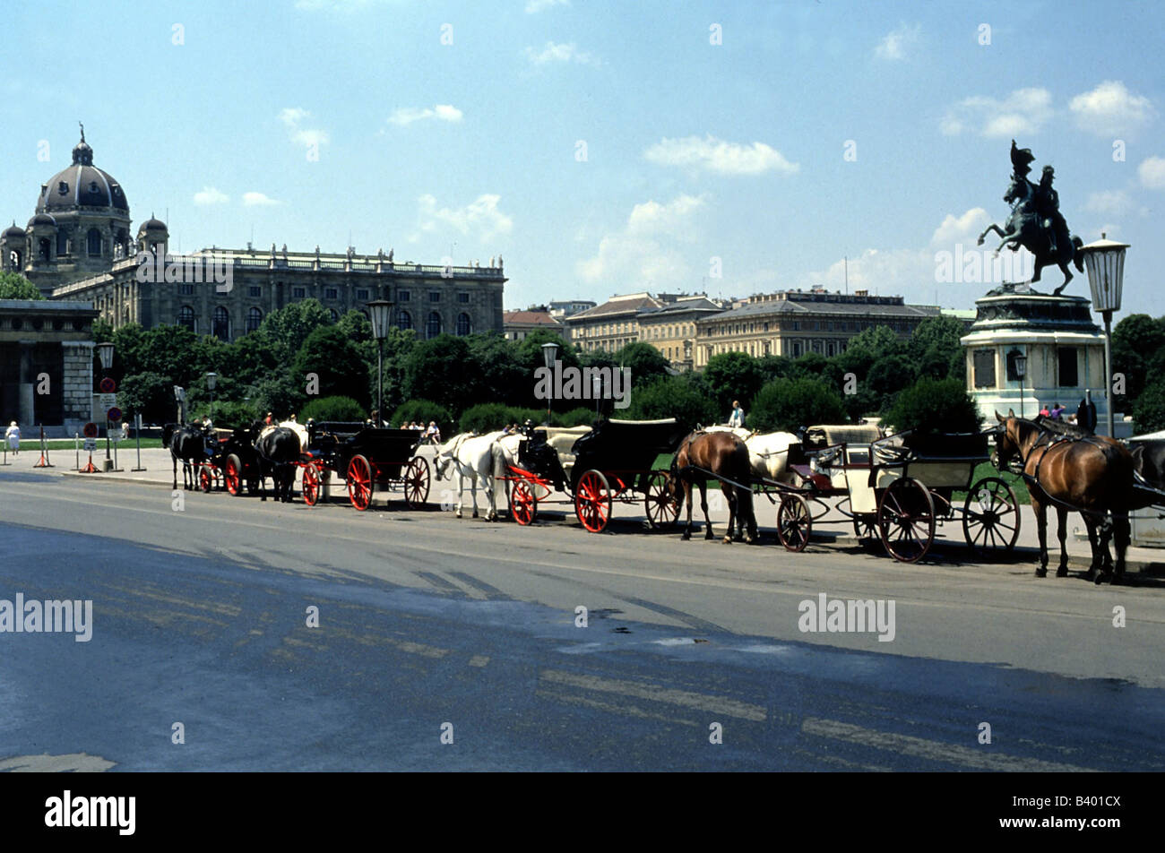 geography / travel, Austria, Vienna, cab, parking site at the hero square, hackney, Additional-Rights-Clearances - Stock Image