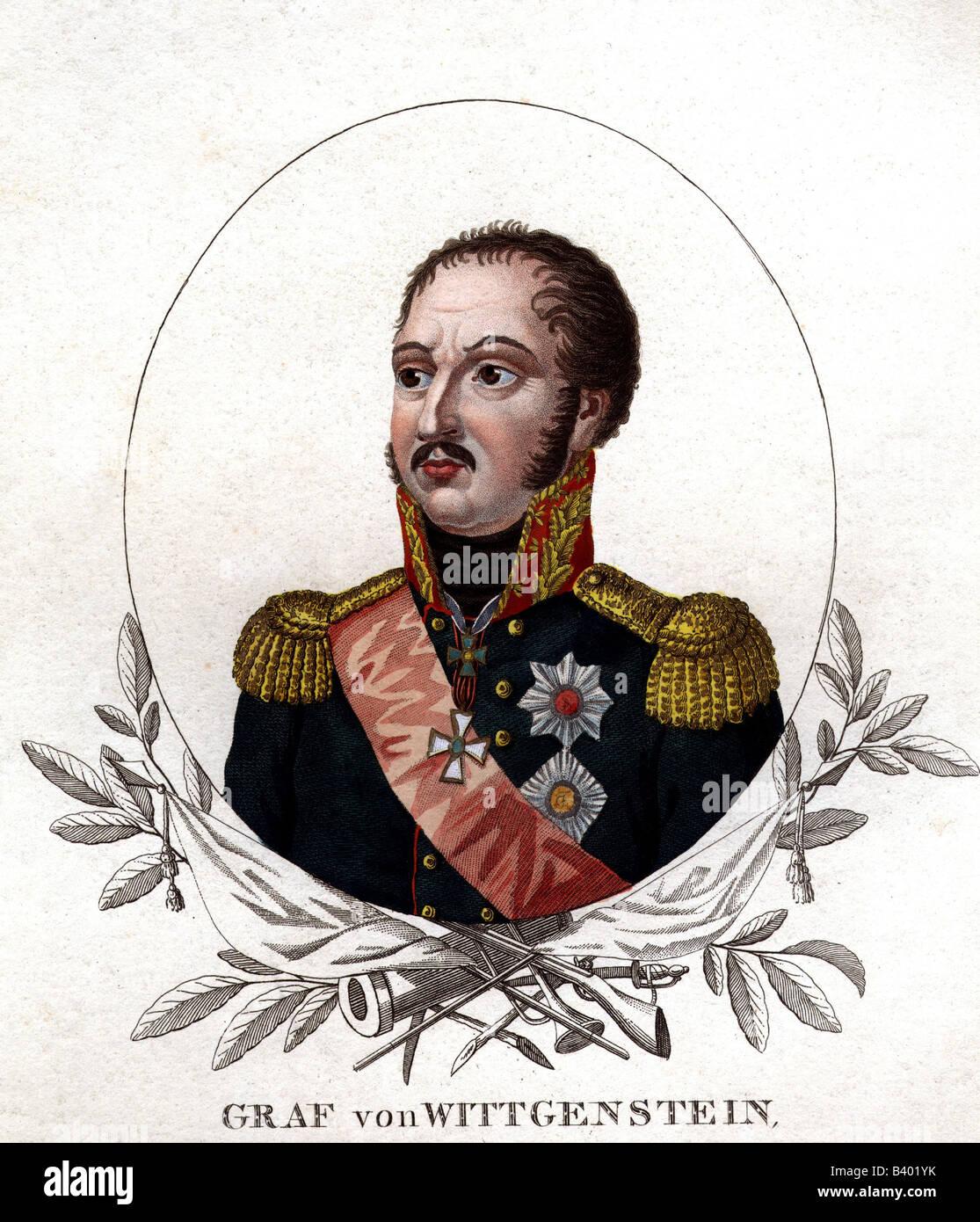Wittgenstein, Ludwig Adolf von, 5.1.1769 - 11.6.1843, Russian General, portrait, coloured steel engraving, 19th - Stock Image