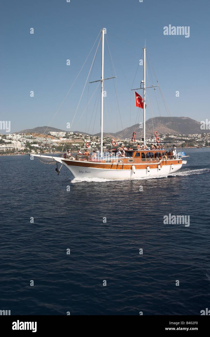 Gulet excursion on The Aegean Sea, Turkey - Stock Image