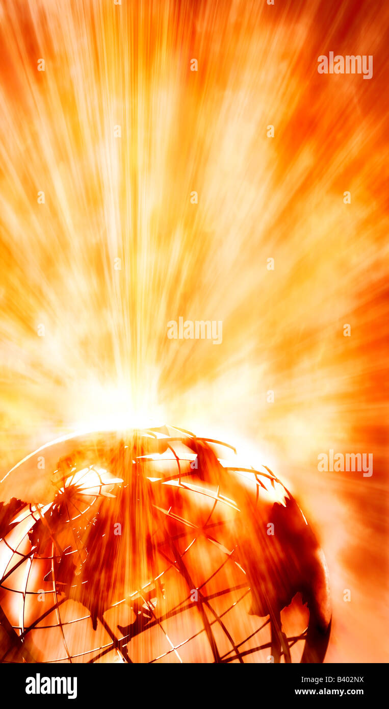 Globe with yellow radiation - Stock Image