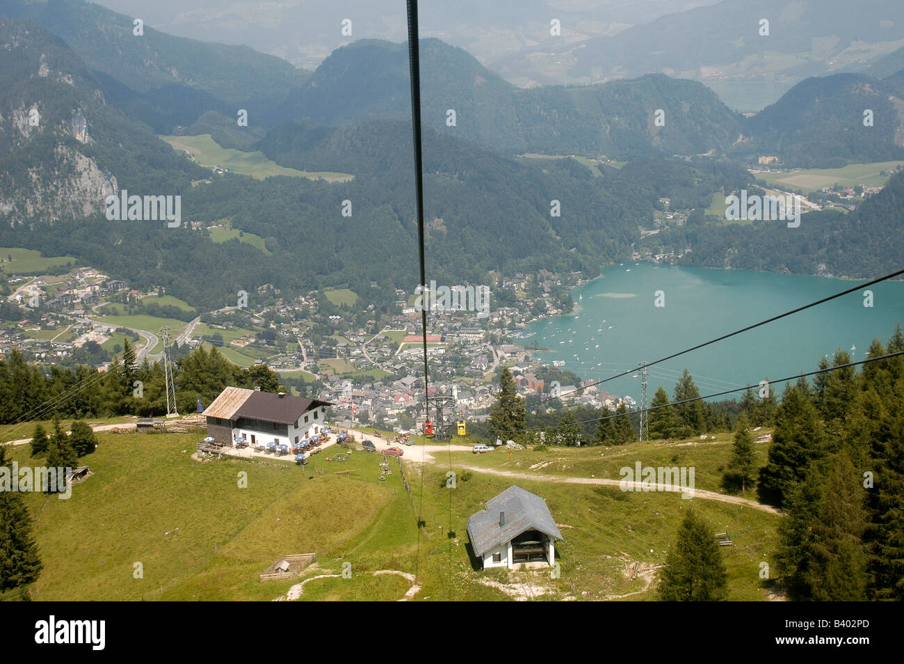 Austria Upper Austria Salzburg St Gilgen and Lake Wolfgang in the Dachstein Mountains A scenic view from the mountain - Stock Image