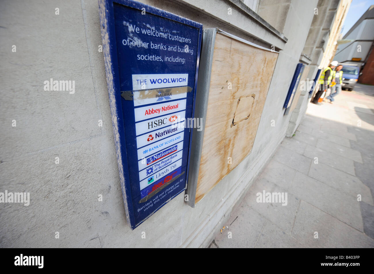 Barclays Bank cash machines boarded up in Brighton. - Stock Image