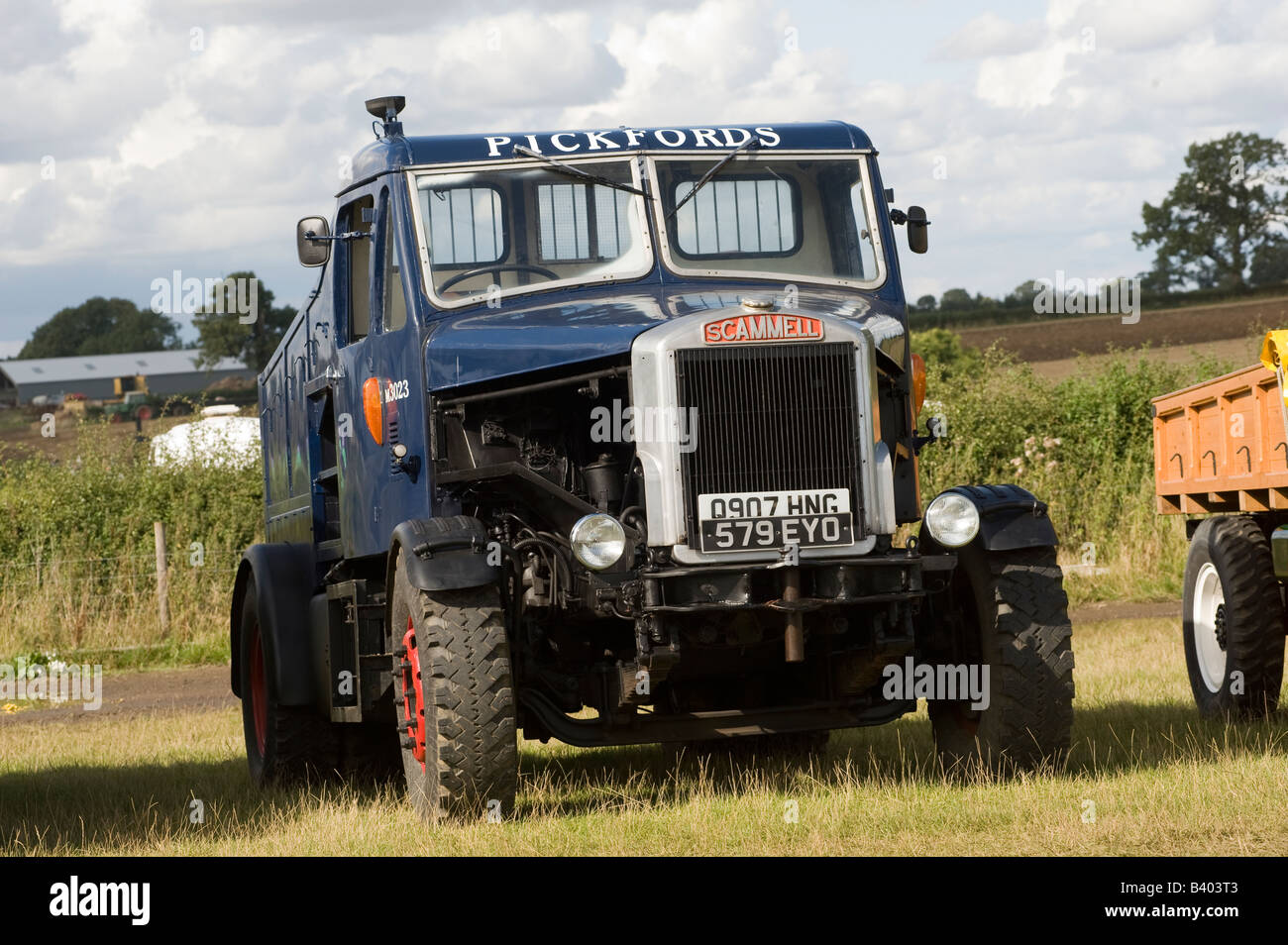 Vintage scammell truck in pickfords livery at an enthusiasts fair in the uk - Stock Image