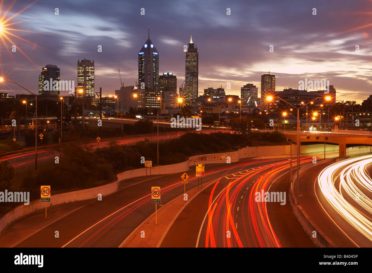 City of Perth Western Australia with Graham Farmer Freeway in foreground - Stock Image