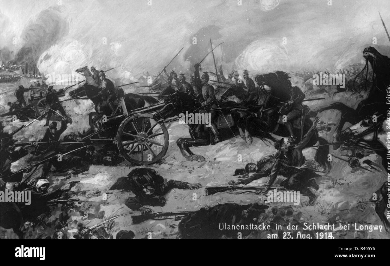 events, First World War / WWI, Western Front, France, Battle of Longwy, 22.8.1914, charging German lancers, postcard, - Stock Image